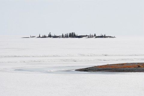 Part of the ice covered Great Slave Lake in spring time, NWT, Canada.