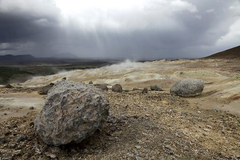 Part from a geothermal areal with steam and mud pots, north Iceland